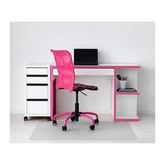 MICKE Desk with integrated storage - white/pink - IKEA