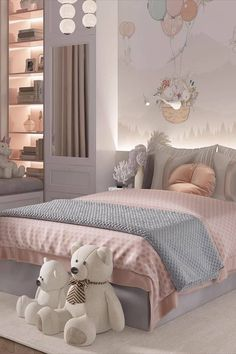 Luxury Kids Bedroom, Modern Kids Bedroom, Luxury Bedroom Design, Girl Bedroom Designs, Fancy Bedroom, Guest Bedroom Decor, Room Ideas Bedroom, Small Girls Bedrooms, Kids Bedroom Ideas For Girls Toddler
