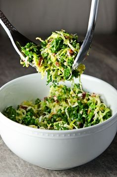 """Kale & Brussel Sprouts salad - absolutely the best ever! You must try it - you won't regret it! Made it for the first time w/ company coming, and they took the leftovers home!"" Kale is a healthy alternative to food -- Ben Kale Brussel Sprout Salad, Brussels Sprouts, Kale Slaw, I Love Food, Good Food, Yummy Food, Vegetarian Recipes, Cooking Recipes, Healthy Recipes"