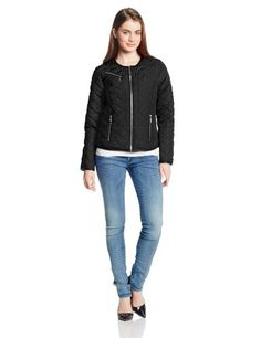 French Connection Women's Quilted Jacket, Black, Large * Check out the image by visiting the link.