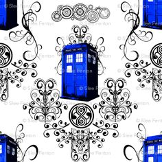 """A whimsical damask featuring Gallifreyan symbols such as the Doctor's name, the Seal of Rassilon, filligrees and swirligigs, and the TARDIS. Perfect for decorating an elegant interior for the discerning Mad Man with a Box""  Fabric by Fentonslee     Collection: Doctor Who Blue    Doctor Who fabrics complete with TARDIS and Dalek fun."