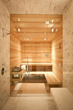 20 Unusual And Cozy Home Sauna Design Ideas. 30 coolest and cozy home sauna design ideas by ellen w. If you want the health and wellness benefits of steam without going to the spa then you can either buy a home unit pre fabricated or create your own . Spa Design, Design Sauna, Spa Bathroom Design, Spa Bathroom Decor, Spa Inspired Bathroom, House Design, Design Ideas, Spa Bathrooms, Bathroom Ideas