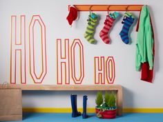 Decorate: Use solid color tape to spell out lively holiday messages.