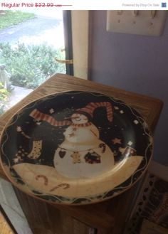 On Sale Now Vintage large Snowman Christmas plate by EMTWTT