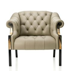 Desirée deep-buttoned club chair Oatmeal