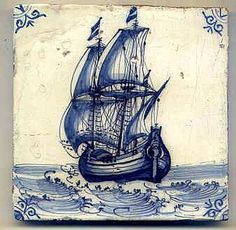 Antique Dutch tile, 17th century.