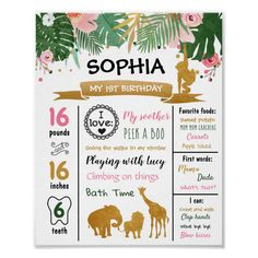Safari Animals Wild One First Birthday Milestones Poster | Zazzle.com 1st Birthday Signs, Animal Birthday, First Birthday Parties, Twin Birthday, Milestone Birthdays, First Birthdays, Online Print Shop, Safari Animals, Wild Ones
