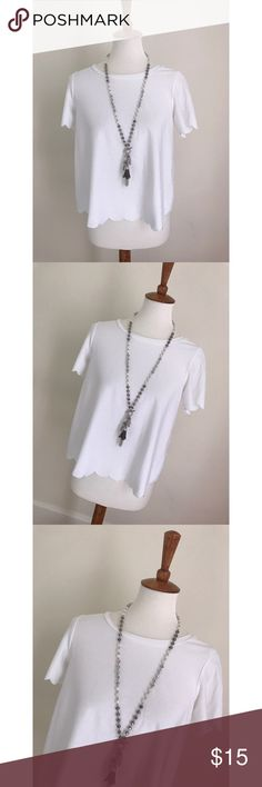 TopShop Scalloped blouse - Size 4/S - I don't trade, and I do not sell outside of posh. - I ship every single day!  - All items come from a smoke free home!  - If you have anymore questions just let me know and I would be happy to help! 🙂 Topshop Tops Blouses