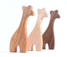 organic giraffe RATTLE - natural wooden teething toy, safari animal playmate, waldorf baby toy with homegrown organic finish. $14.00, via Etsy.