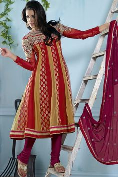 Awesome unstitched Salwar Kameez Dupatta set.     Get yours @ http://atisundar.com/collections/bollywood-suits/products/lovely-embroidery-red-unstitched-salwar-kameez-by-atisundar