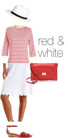 Cute outfit sans hat. Like Breton stripes and this just looks like summer. Have looked all season for just the right red/white striped top. : no luck