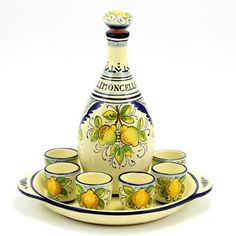 LIMONCELLO: Limoncello Set with Blue trimmings (Bottle with stopper+Tray+6 Shot Glasses)