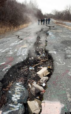 Centralia - PA Highway 61 (Feb. 2, 2010). The highway, now closed, goes through a Pennsylvania town under which a subterranean coal fire has been burning for almost 50 years.