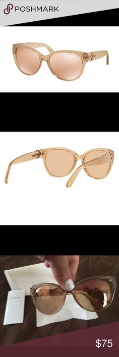 """☀️😎EUC MICHAEL KORS SUNNIES😎☀️ Beautiful """"Tabitha"""" MK style sunglasses. Clear acetate frame with gold flecks and gradient lenses. Case and dust cloth included. Michael Kors Accessories Sunglasses"""