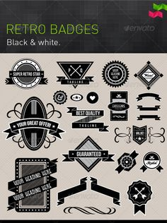 Black and White Retro Badges and Design Elements - GraphicRiver Item for Sale