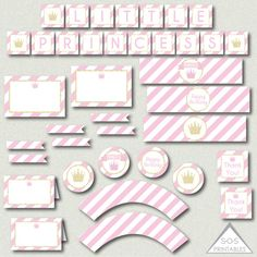 Princess Party Printables, Pink and Gold Princess Party, Glitter Princess Party, DIY Princess Birthday