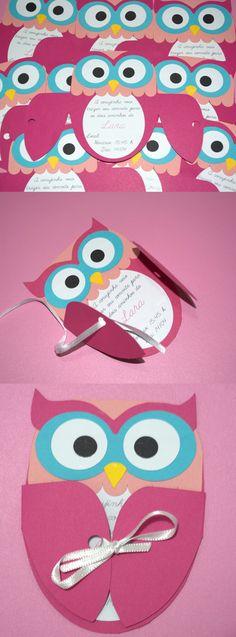 Convite de aniversário corujinha - Owl birthday invitation. Eu fiz a partir daqui: http://www.do-it-yourself-invitations.com/kids-birthday-invitations.html. Usei a silhouette cameo.  #owlbirthdayinvitation #convite #coruja #corujinha #convitedeaniversáriomenina #invitation #owl #pinkowl