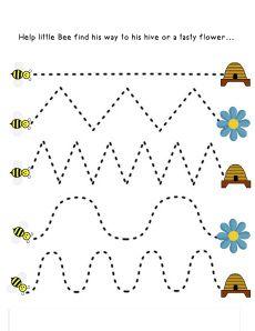 bee activities for kinder Preschool Workbooks, Letter Worksheets For Preschool, Preschool Writing, Tracing Worksheets, Preschool Printables, Kindergarten Worksheets, Preschool Crafts, Fall Preschool, Bee Activities