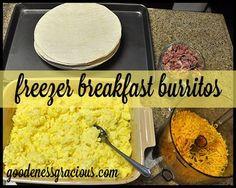 Homemade Freezer Breakfast Burritos - Great leftover ham recipe.