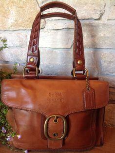 COACH Whiskey Bleecker Vachetta Leather Flap Tattersall Shopper 11420 MSRP $498 #Coach #ShoulderBag