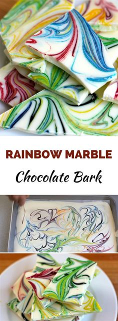 Rainbow Marble Chocolate Bark is a perfect recipe if you'd like to make some homemade gifts for family and friends. They are so beautiful and very easy to make!