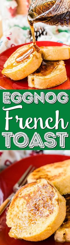This Eggnog French Toast is dipped in a mixture of eggnog, eggs, rum, vanilla, and nutmeg before it's cooked to perfection and slathered in syrup for a delicious holiday breakfast! via @sugarandsoulco