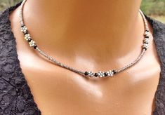 Silver beaded choker, faux platinum beaded choker, silver and crystal choker, palladium beaded choker, simple beaded choker, gifts for her