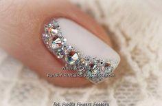Partial glitter plus Swarovski crystal accent