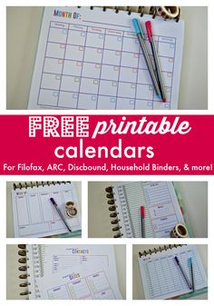 Free printable calendars for your filofax, household binder, arc notebook, Arc Planner, Monthly Planner, Discbound Planner, Happy Planner, Planner Ideas, 2018 Planner, Notebook Organization, Calendar Organization, Organizing