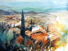 Watercolor Images, Watercolor Artists, Watercolor Landscape, Landscape Art, Watercolor Paintings, Architecture Old, Art Sketches, Heinz, Water Colors