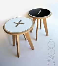 Plus / minus stool side table by Foreply on Etsy