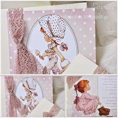 Η τέχνη της Σοφίας: Εβελίνα αλά Vintage Sarah Kay Sarah Kay, Christening Themes, Holly Hobbie, Boy Or Girl, Party Themes, Baby Shower, Invitations, Birthday, Cards
