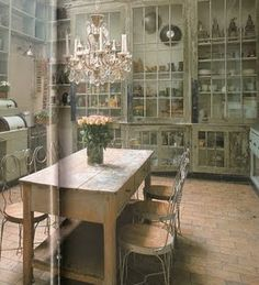 cabinets. ~ Just look at those glass front cabinets!!!