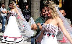 Estilista lança vestidos de noiva inspirados em times de São Paulo
