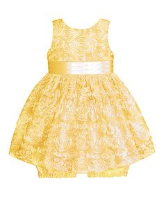 Look what I found on #zulily! Yellow Flower Medallion Dress & Bloomers - Infant #zulilyfinds
