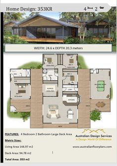 Acreage Home Design 4 Bedrooms 2 Bath rooms plus rumpus room House Plans For Sale, Dream House Plans, Modern House Plans, Small House Plans, House Floor Plans, Cool House Plans, Small Contemporary House Plans, The Plan, How To Plan