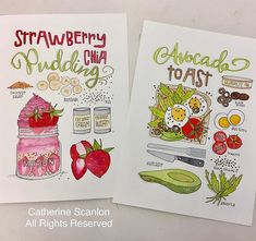 I'm so excited with how my #illustratedrecipes turned out for my final illustration project. I have a few more ideas on this theme to work on over the summer! #catherinescanlon #catherinescanlondesigns #illustration #foodillustration #tombowdualbrushpens #dualtipbrushpens #tombow @tombowusa