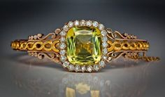 Antique Polished Rose Gold, Matte Yellow Gold, Golden Beryl And Old Cut Diamond Bangle Bracelet - Moscow  c. 1882-1898