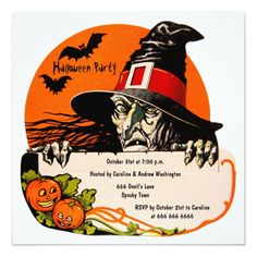 Vintage Creepy Witch Halloween Party Card