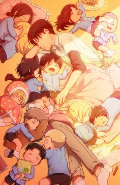 Attack on Titan - Levi and everyone. THIS IS SO CUTE OMG I CANT EVEN. Look at little Ymir and Krista <3