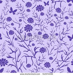 Two-tone pattern, branches, flowers and butterflies.