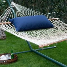 xl rope double hammock with metal stand  u0026 pillow   hammocks at hayneedle algoma 11 ft  cotton rope hammock with metal stand deluxe set      rh   pinterest