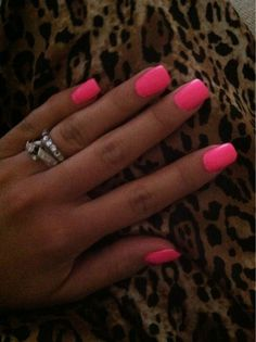 Hot pink nails nails! I'm in love with this color <3