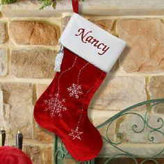 Personalized, Embroidered Christmas Stockings   Add A Name for Free