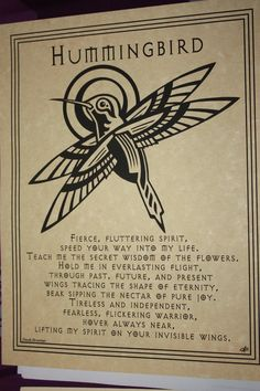 HUMMINGBIRD PRAYER  Parchment Poster- Wicca, Pagan, Witch picclick.com