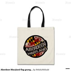 Aberdeen Maryland flag grunge tote bag #Aberdeen #Maryland #flag #grunge #scroll #circle #reusable #tote #bag  ArtisticAttitude.net