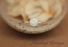 Delicate Opal Engagement Ring - Opal Bezel-Set Solitaire in Sterling - Opal Promise Ring - Unique Engagement Ring - October Birthstone