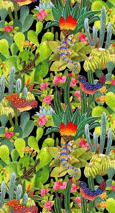 Lizard, bird and cactus pattern Más
