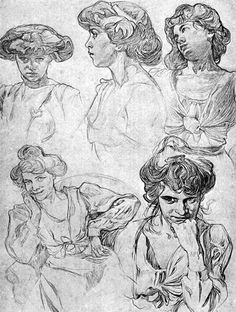 Alphonse Mucha production sketches. More