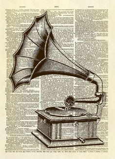 This print features a beautiful antique illustration of a gramophone. The phonograph is a device invented in 1877 for the mechanical recording and reproduction of sound. In its later forms it was also